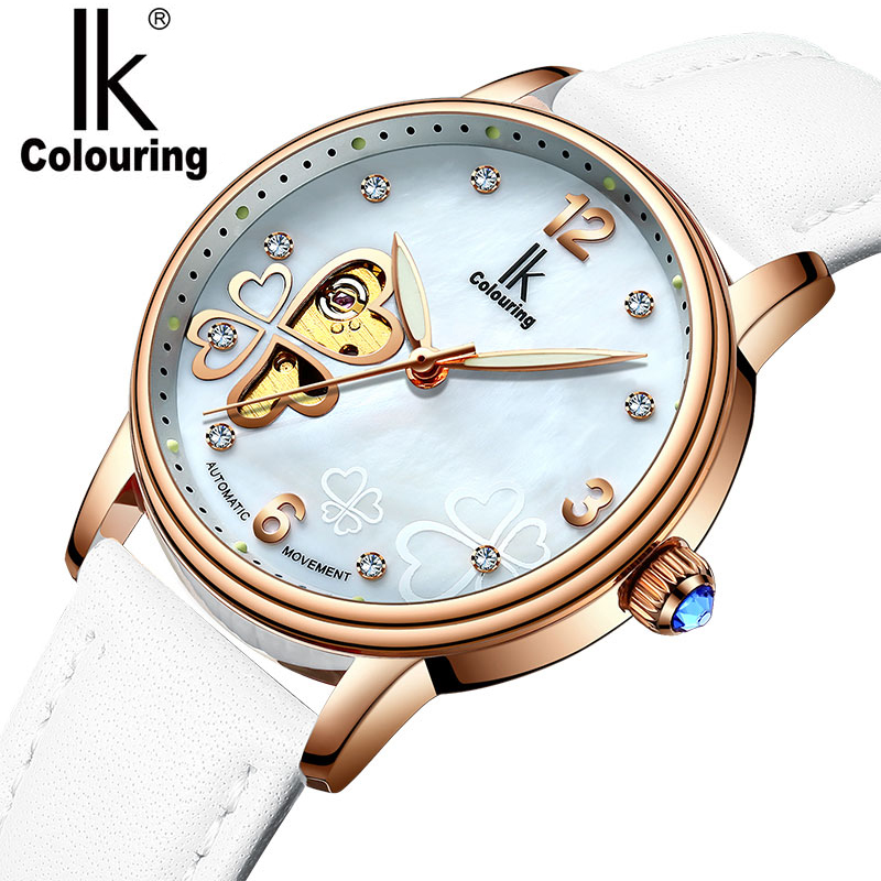 Automatic Skeleton Watch Women IK Colouring Luxury Rose Gold Case White Leather Wrist Watches for Woman Ladies Girls Wristwatch k colouring women ladies automatic self wind watch hollow skeleton mechanical wristwatch for gift box