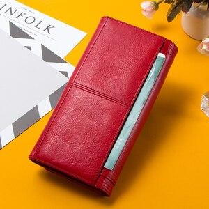 Image 2 - Contact en cuir véritable femmes portefeuille femme porte monnaie Portomonee pince pour sac dargent porte carte téléphone poche longs portefeuilles