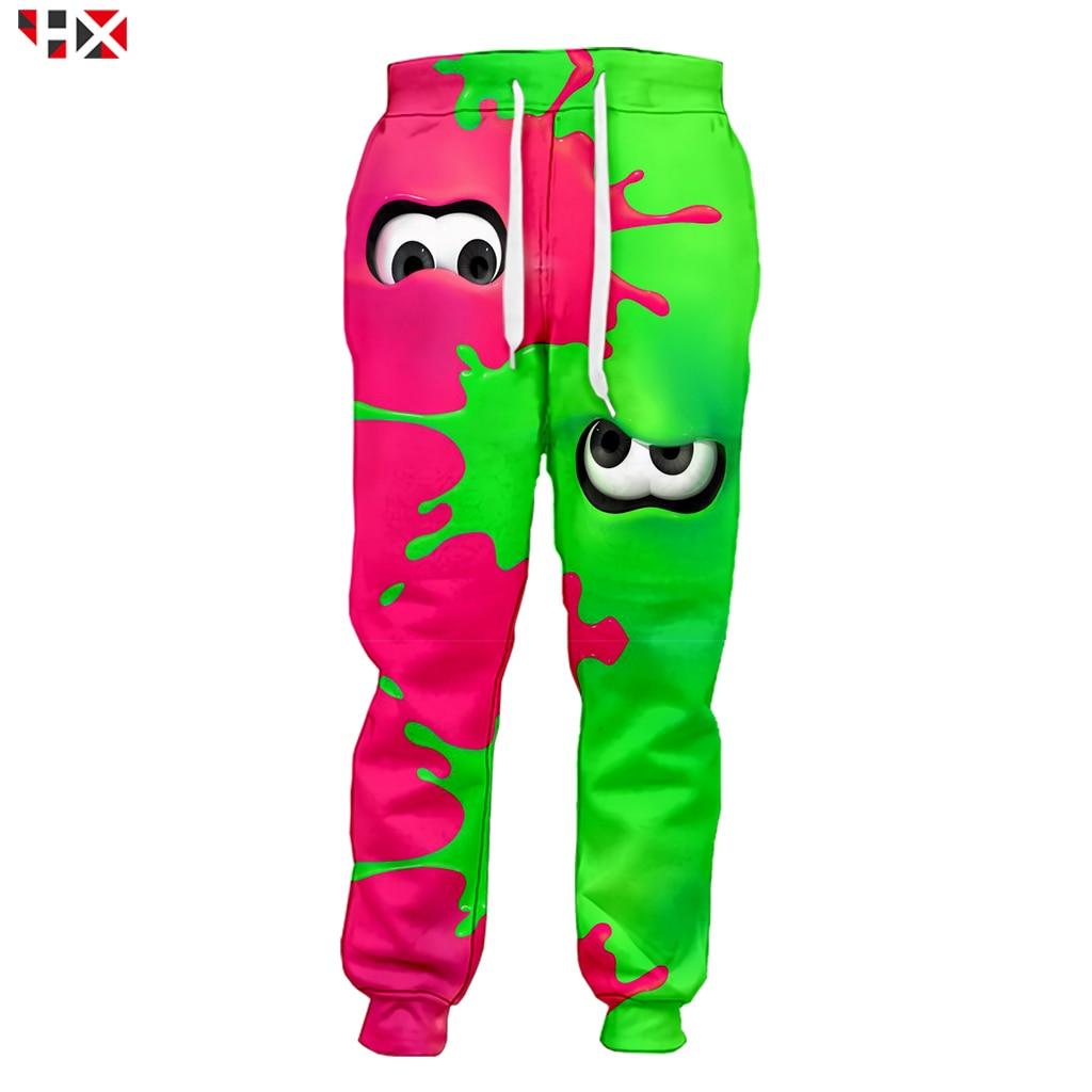 2019 Hot Sale 3D Print Game Splatoon 2 Pink And Green Pants Harajuku Men Trousers Streetwear Men/Women Sweatpants Z251