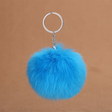 все цены на 2019 New 8CM Fluffy Rabbit Fur Ball Key Chain Cute Cream Black Pompom Artificial Rabbit Fur Keychain Women Car Bag Key Ring онлайн