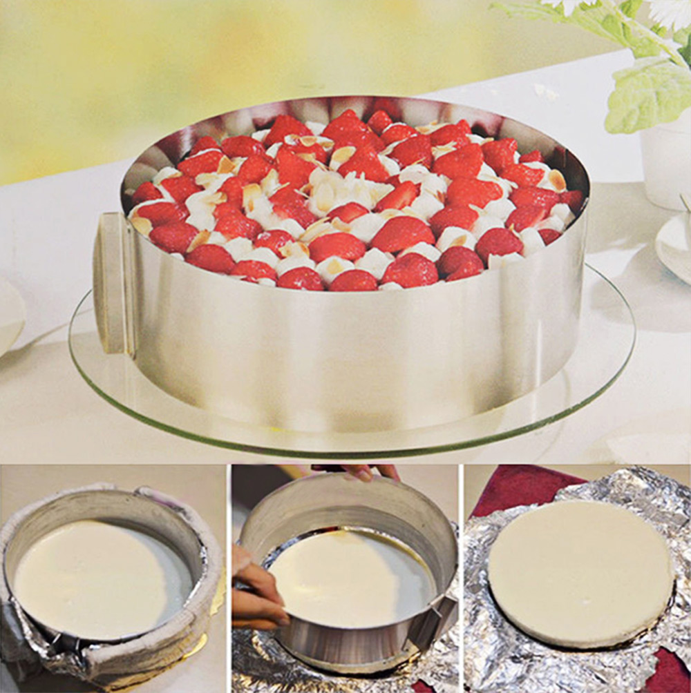 Versenkbare Edelstahl Kreis Mousse Ring Back Werkzeug-set Kuchen Form Form Größe Einstellbar Backformen 16-30 cm Hot verkauf 1 stücke