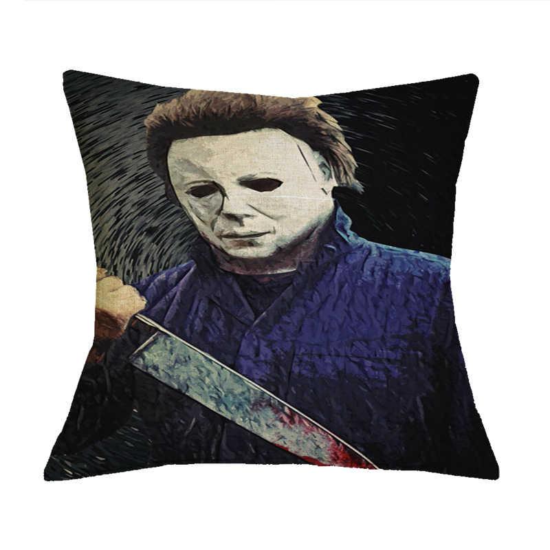 Fanximan Custom Cotton Linen Pillowcase Michael Myers Jack Sally Christmas  Throw Pillow Case Horror Pillows Home Decor
