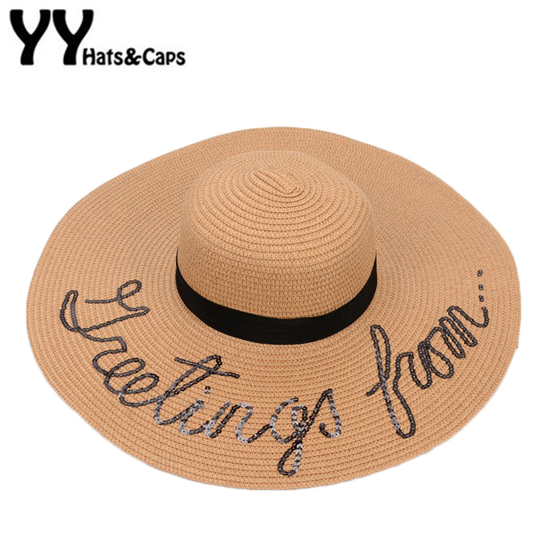69160d7fd20 Women Foldable Floppy Sun Hats Letters Sequin Embroidery Straw Sunhat Summer  Wide Large Brim Beach Cap With Ribbon YY17132-in Sun Hats from Apparel ...