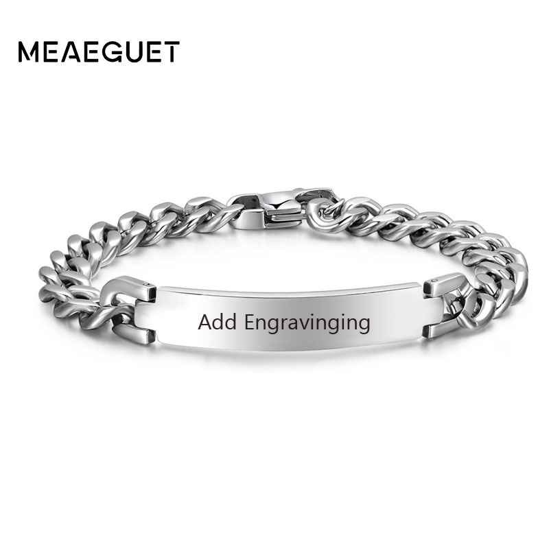 2ef7467fb0a31 US $7.19 40% OFF|Stainless Steel Curb Chain ID Men Bracelet In Silver Color  Custom Bangle Personalized Bar With Names Initials Date Male Jewelry-in ID  ...