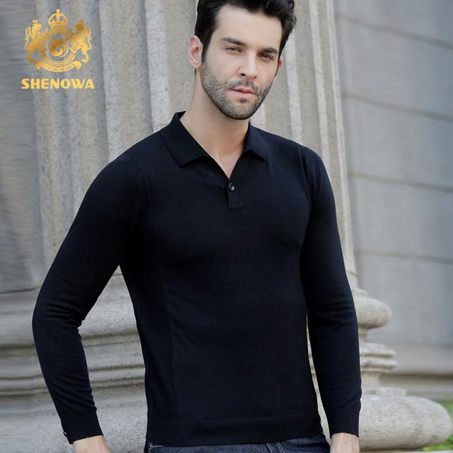 SHENOWA2017 nuevos hombres suéter de lana de cuello redondo delgado de mediana edad de manga larga de moda y modelos de negocio