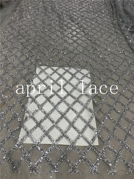 ap2004 # 5yards silver grid plaid ripstop glued glitter net tulle mesh sugar lace for  wedding/party/lady dress