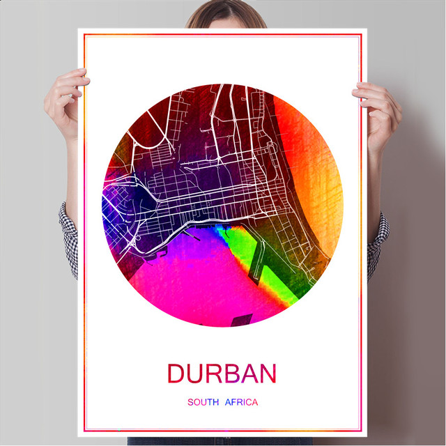 World famous city map durban south africa print poster print on paper or canvas wall sticker
