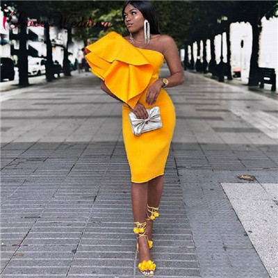 Short   Cocktail     Dress   2019 One Shoulder Orange Short   Dress   Custom made Ruffles Knee Length Formal   Dress   Short