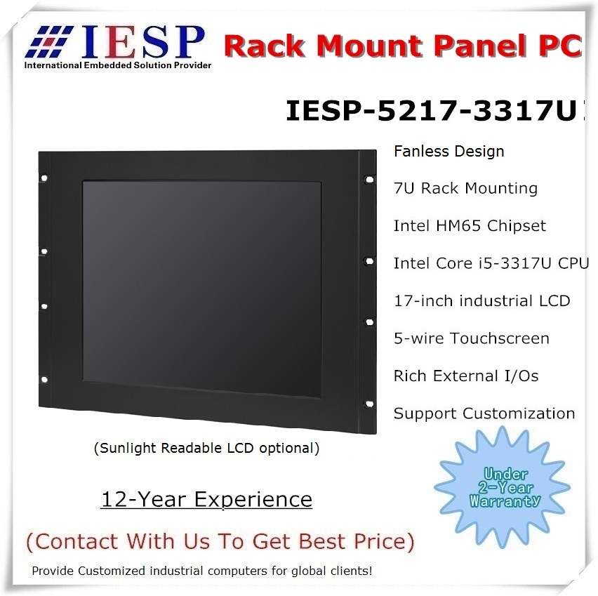 Rack Mount Industrial Panel PC, Core I5-3317U/4GB/500GB HDD, 4COM/4USB/GLAN, 5-wire Touchscreen, Rack Mount Computer