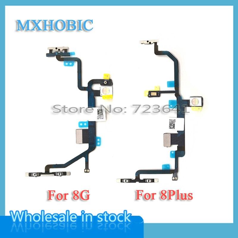 MXHOBIC 5pcs/lot Power On Off Switch Control Button Volume Flex Cable Ribbon For iPhone 8 Plus 8G 8P 8+ Light Flash Parts