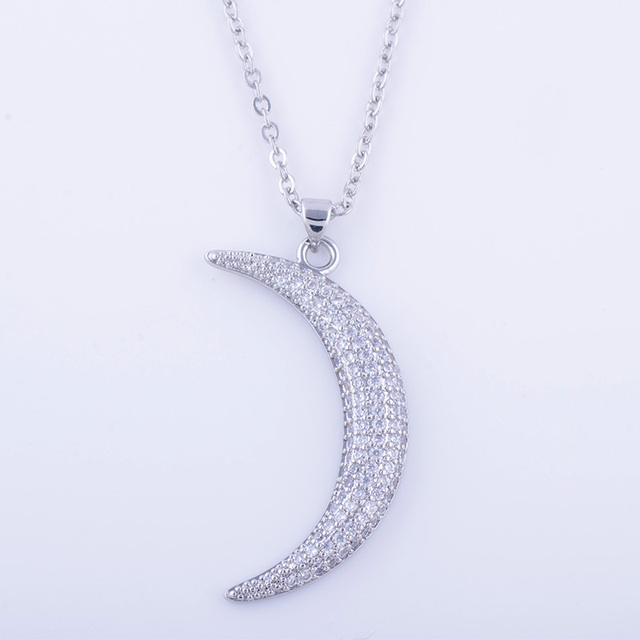 Unique micro pave zircon crystal moon necklaces pendants wholesale unique micro pave zircon crystal moon necklaces pendants wholesale copper czech chain necklace for women bijoux mozeypictures Images