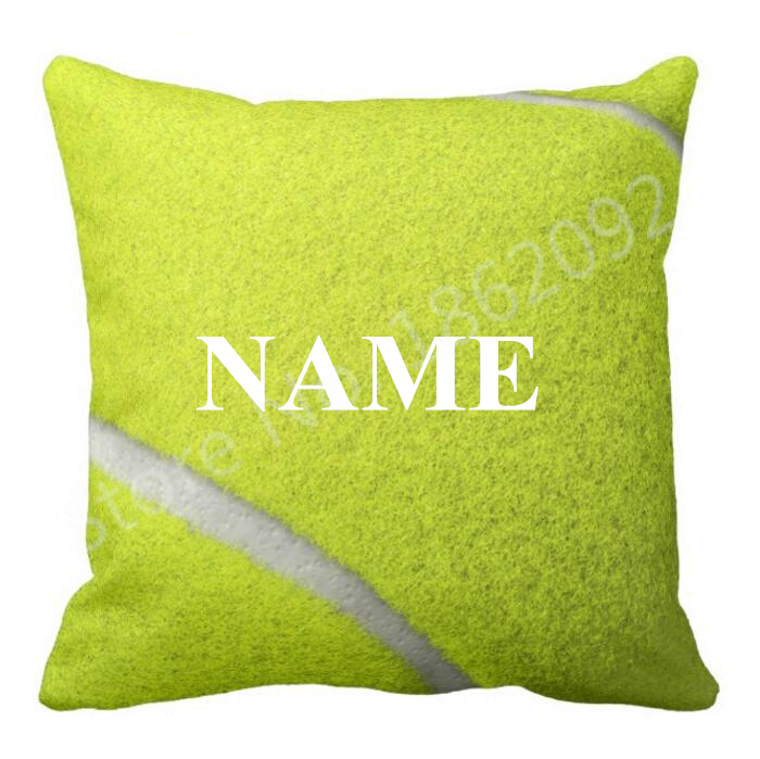 Personalized Tennis Ball Gift Custom Name Tennis Ball Throw Pillow Case  Cushion Cover Novelty Tennis Chair
