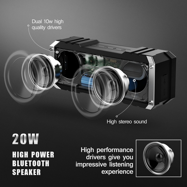 VTIN Portable Wireless Bluetooth 4.0 Speaker 20W Outputfrom Dual 10W Drivers Outdoor Waterproof Speaker with Mic for Smartphones