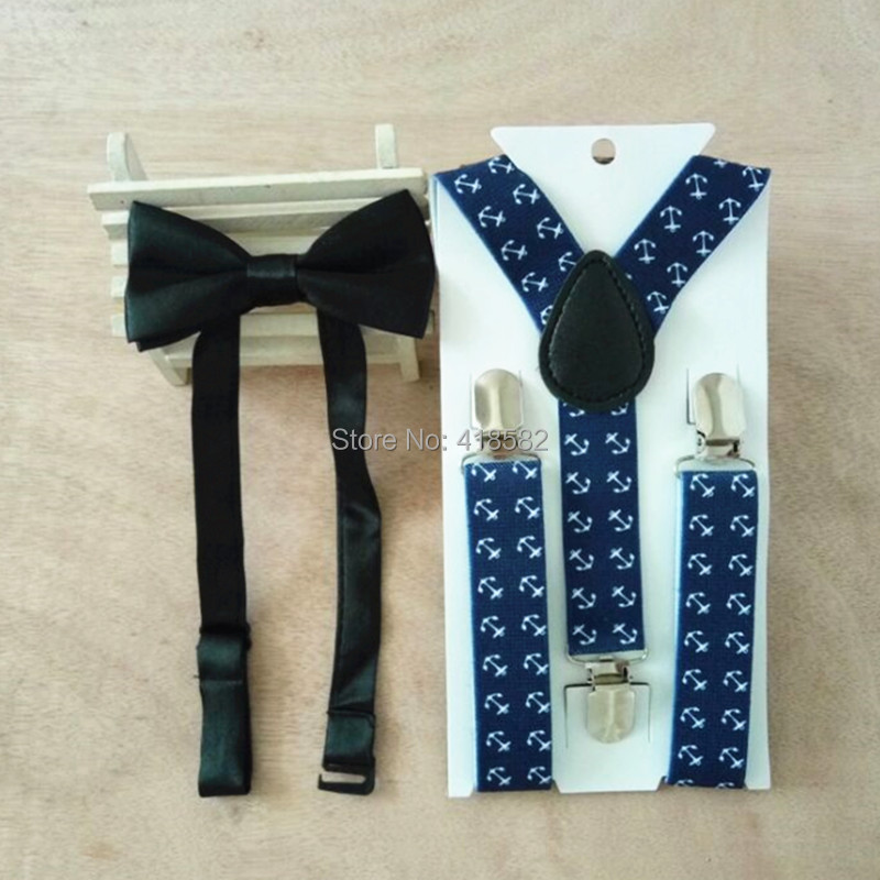 LB060-S anchor print navy blue kids suspenders 3 cilps brace with bow tie set for baby
