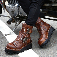 Motorcycle Boots Men Winter Retro Genuine Cow Leather Vintage Biker Skull Punk Casual Martin Boot Moto Motorbike Protective Gear