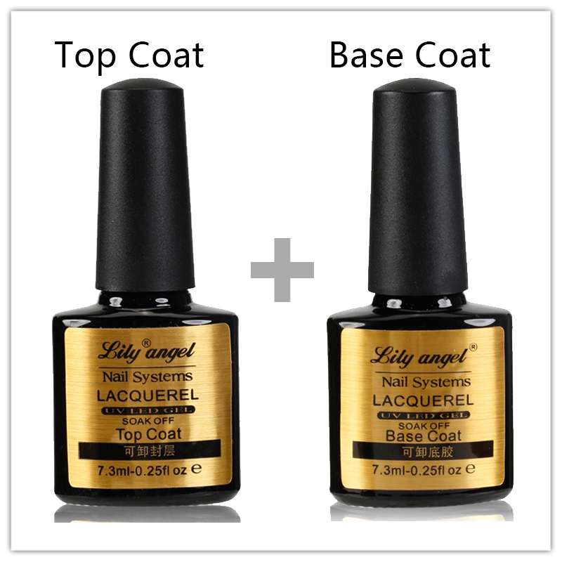 Lily angel 2 Stks / set Beste Kwaliteit Top Coat en Base Coat 7.3 ML langdurige Soak Off Vernis Manicure Nail Gel Z20