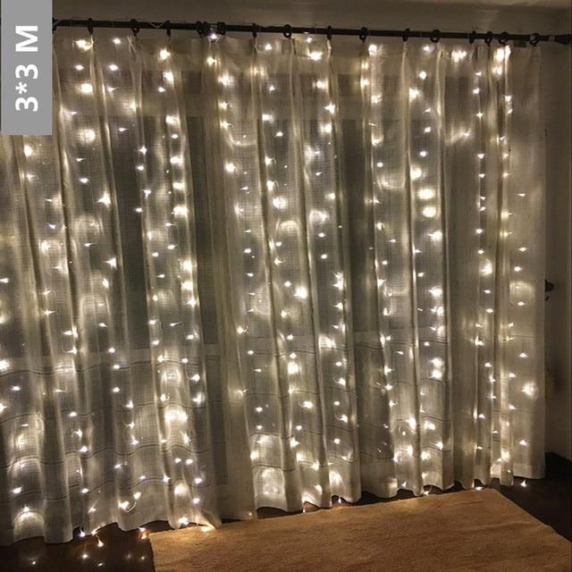 3mx3m 304leds Icicle Led Curtain String Fairy Light 304 Bulb Xmas Christmas Wedding Home Garden Party Garland Decor Warm White