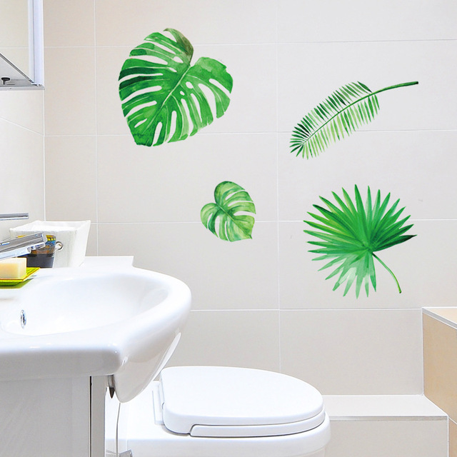 green leaves self adhesive wall stickers living room bedroom