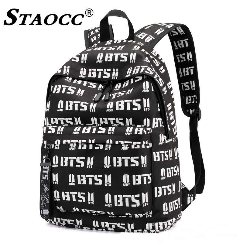 0992e7d6994 Women BTS Backpack School Mochila Canvas Laptop Back pack Letter Print  School Bag For Girls Big Female Travel Bagpack Sac A Dos