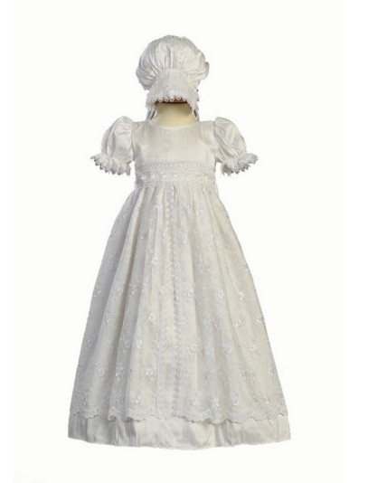 2016 High Quality Todder Baby Infant Christening Dress Baptism Gown Girl Boy Lace Applique WITH BONNET 0 3 6 9 12 18 24month
