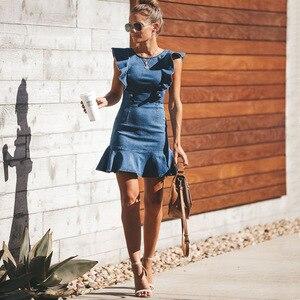Lguc.H Unique Denim Dress 2020 Summer Sundress Backless Mini Jeans Dress Falbala Fashion Casual Women Clothes Blue New S XL(China)