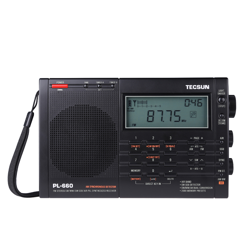 Tecsun PL-660 Portable High Performance Full Band Digital Tuning Stereo Radio FM/MW/SW/LW Radio SW SSB tecsun pl 600 digital tuning full band fm mw sw sbb air pll synthesized stereo radio receiver 4xaa