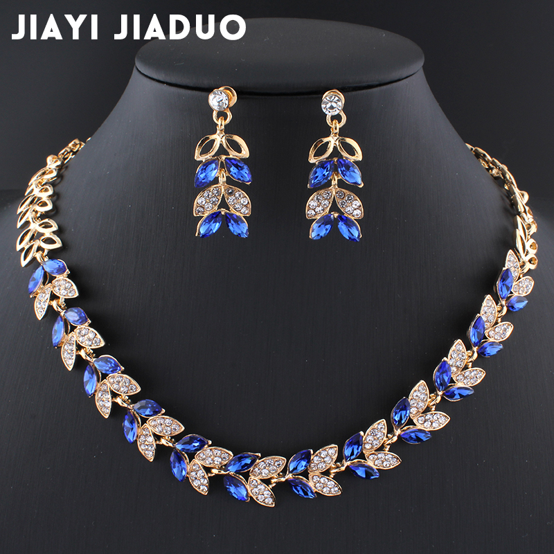 Jiayijiaduo New Wedding Jewelry Sets For Charming Women Dresses Dating Accessories Green Glass Crystal Necklace Earrings Sets #5