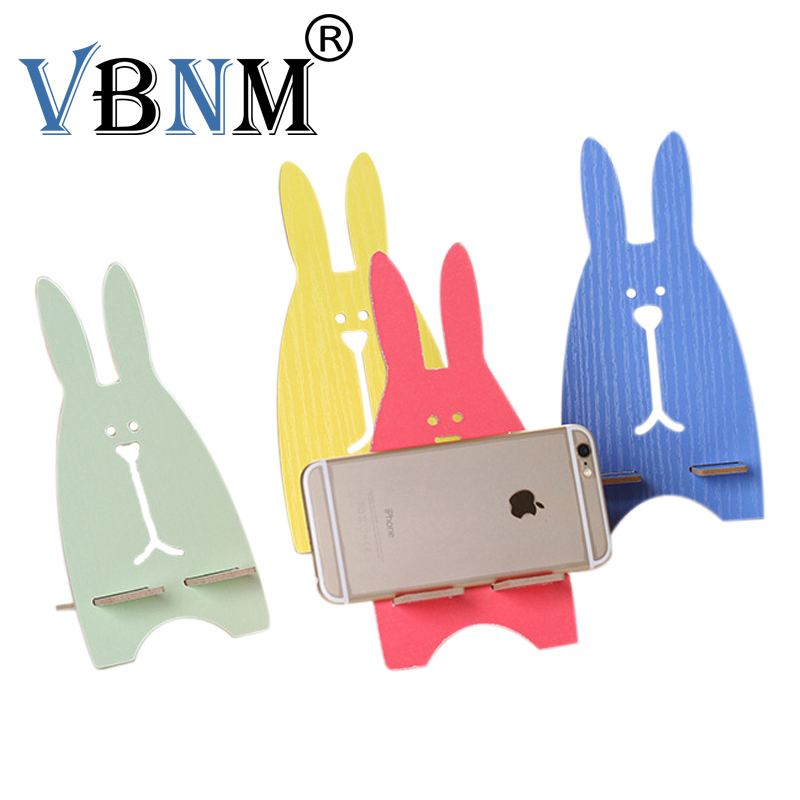 Cartoon Wooden Mobile Phone Light Weight Cute Lovely Rabbit Animal Cellphone Tablet Desktop Holder Stand Lazy bracket
