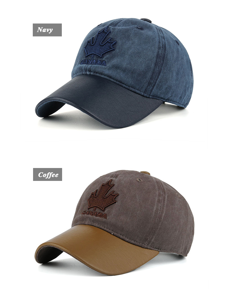 Embroidered Canadian Leaf Dad Hat - Navy Cap and Coffee Cap Options