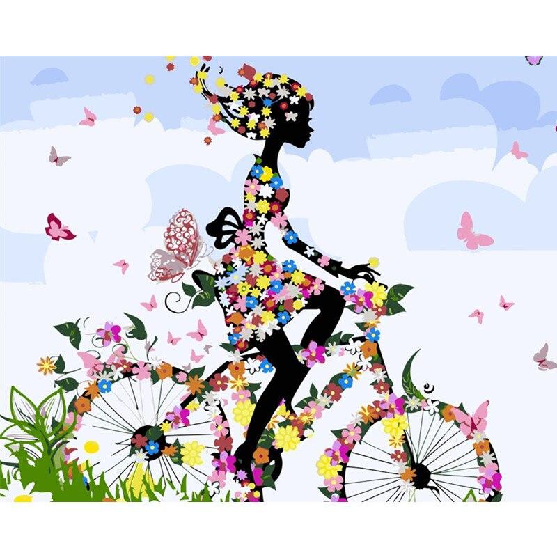 Pintura Por Números DIY Dropshipping 40x50 50x65cm Montando uma bicicleta borboleta Figura Lona Decoração Do Casamento retrato da arte Do Presente