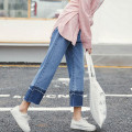 Spring new Korean women pants Loose high waist nine points legs wide jeans Female straight jeans fashion  Sweet Girl pants