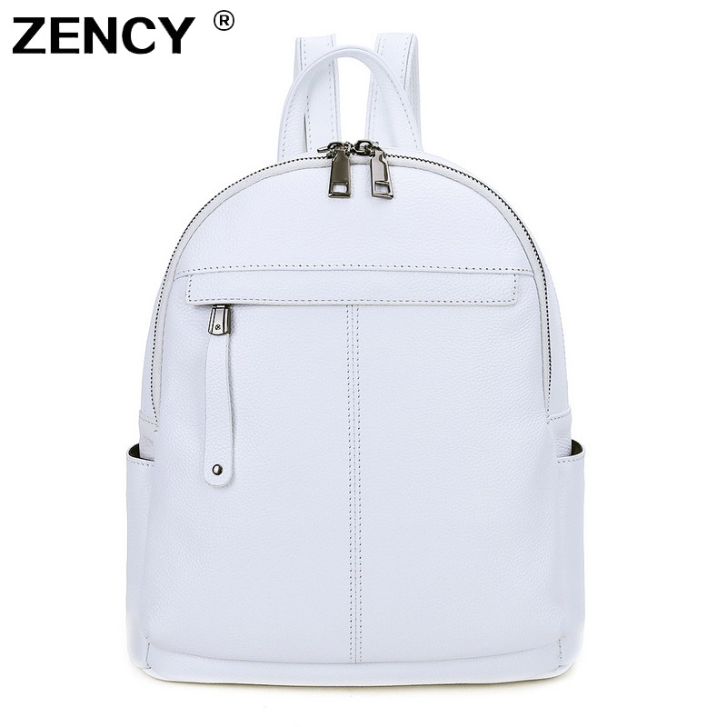 ZENCY 100% Genuine Real Cow Leather 2 Sizes Women Backpack First Layer Cow Leather White Silve Gray Backpacks Travel Book Bag(Hong Kong,China)