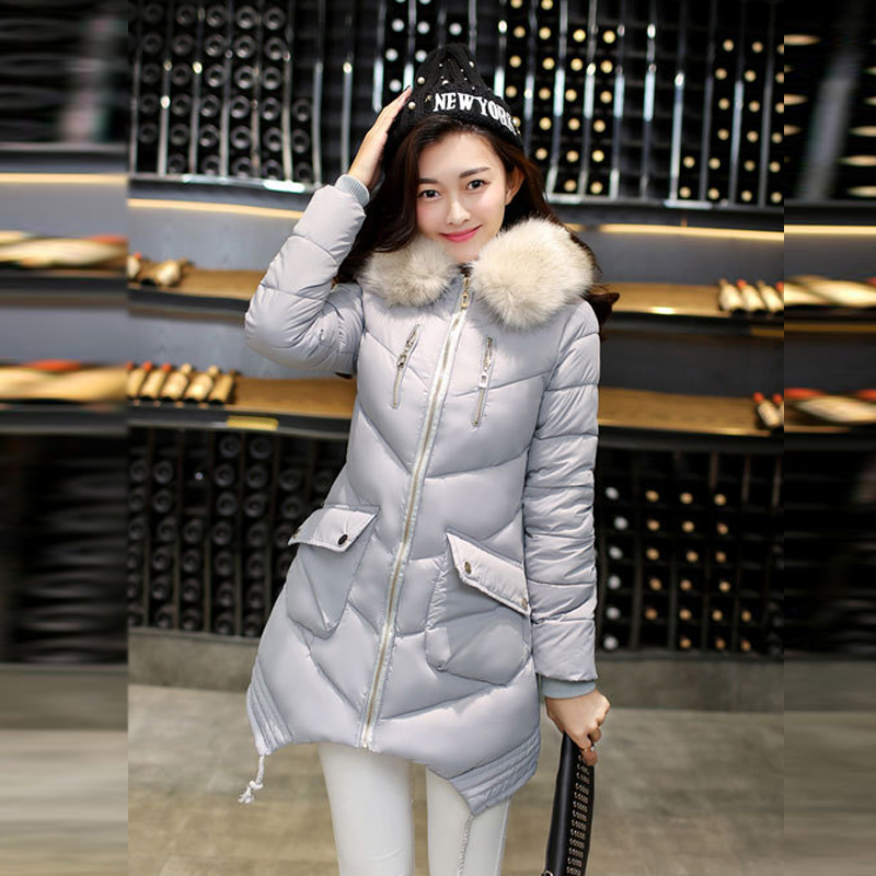 ФОТО 2017 Hot sale women winter coat 5 colors cotton long section hooded slim jacket all-match warm fur collar fashion korean coats