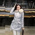 2017 venta Caliente de las mujeres abrigo de invierno 5 colores de algodón largo sección con capucha chaqueta delgada del todo-fósforo caliente cuello de piel de moda de corea abrigos