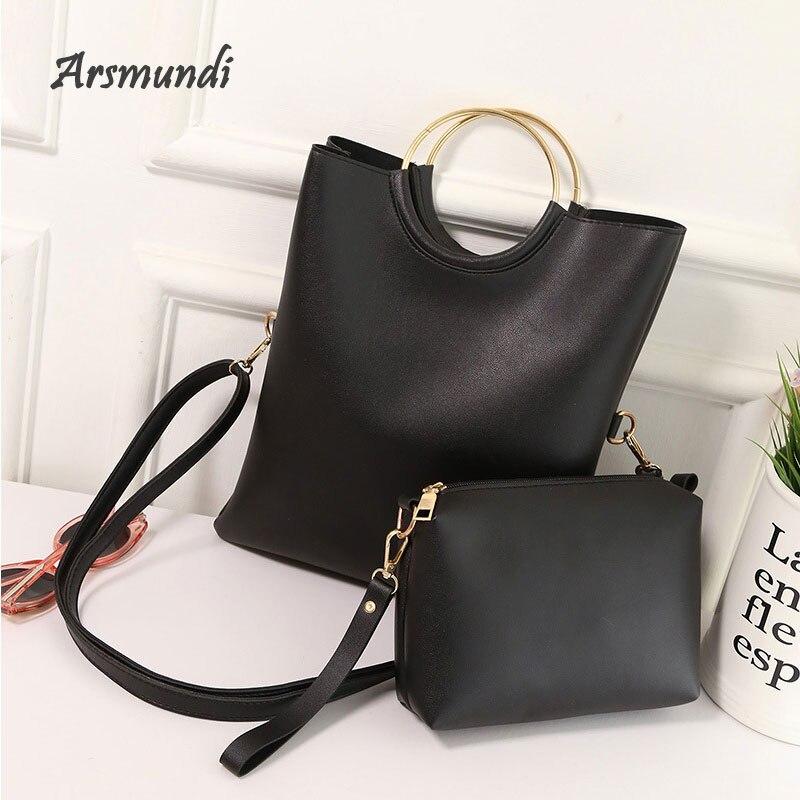 Arsmundi de moda de las mujeres bolsa de hombro bolso de las señoras anillo grande plegable bolsa de maestro día embragues sobre bolsas