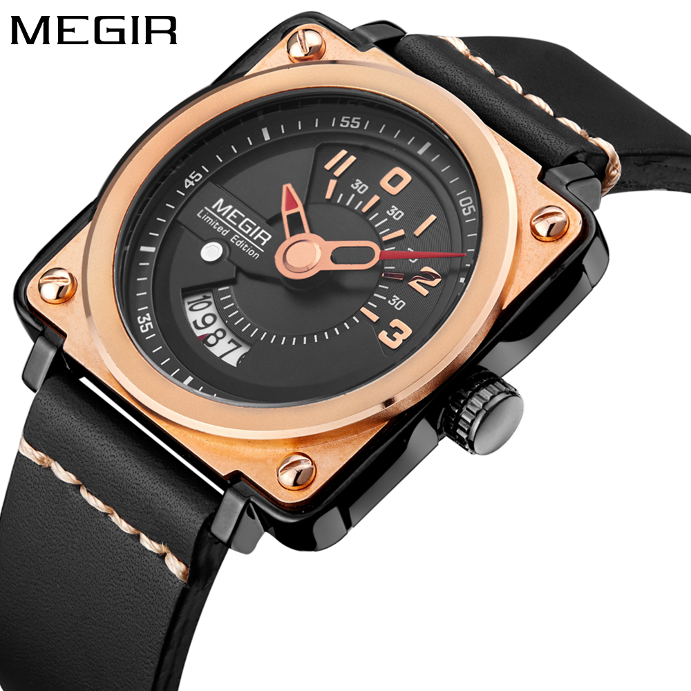Megir Mens Watches Brand Luxury Waterproof Limited Edition Military Date Quartz Leather Sport Wristwatch Men relogios masculino цена 2017