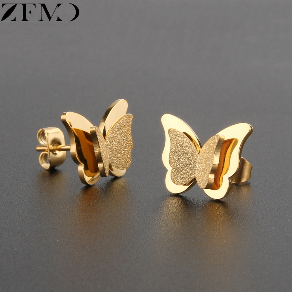 ZEMO Rose Gold Butterfly Stud Earring Female 316L Stainless Steel Black Earrings Ear Piercing Studs for Women Children`s Earring (11)