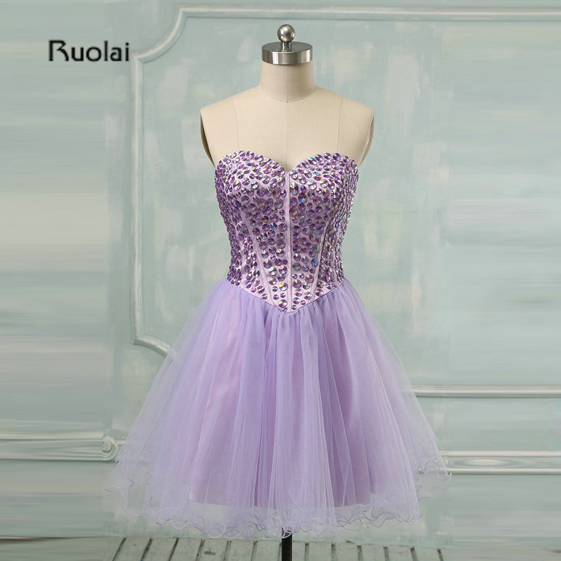 Robe de soiree Real Picture Hot Sale   Prom     Dresses   Above-Knee Sweetheart Sleeveless Crystal Mini Tulle Evening Gown Party   Dresses