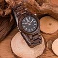 Kenon moda relógios dos homens 2017 top marca de luxo de madeira sândalo preto relógios de pulso de quartzo relogio masculino