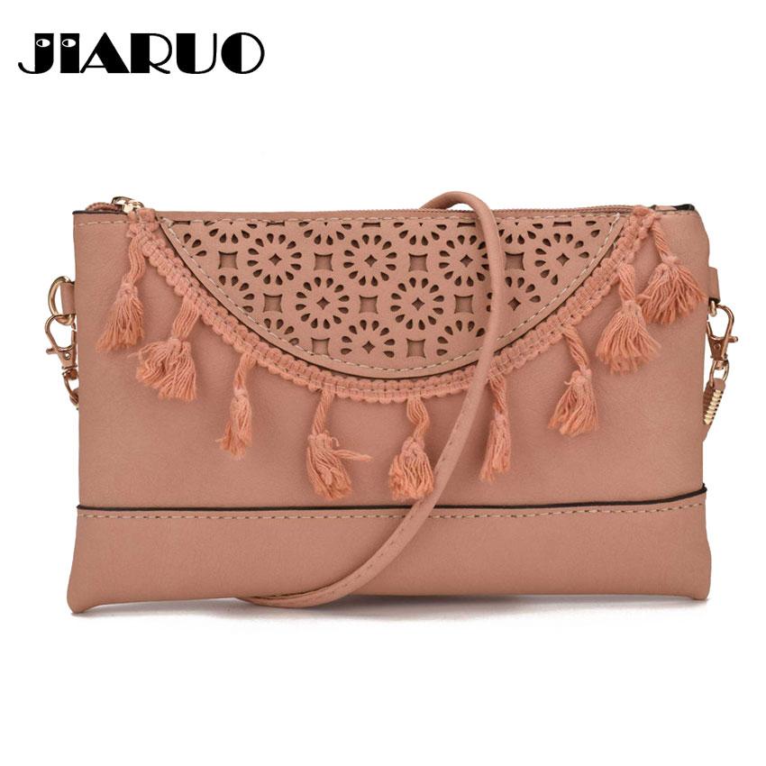 JIARUO Fringe Tassel Women Leather Crossbody bag Small mini messenger bag  for ladies girl thin slim 5f552535811e8