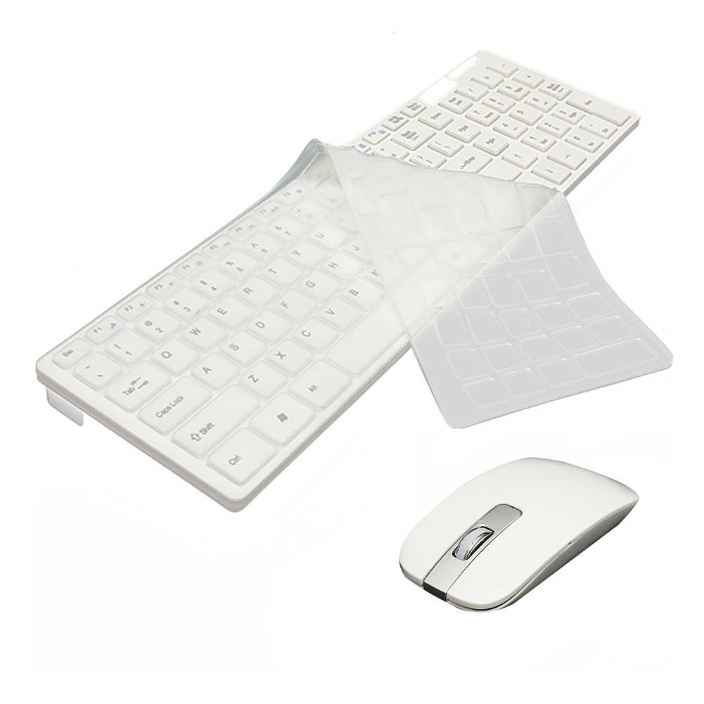 2.4G Wireless Optical Keyboard + Mouse USB Receiver Kit dengan Keyboard Cover untuk PC Putih