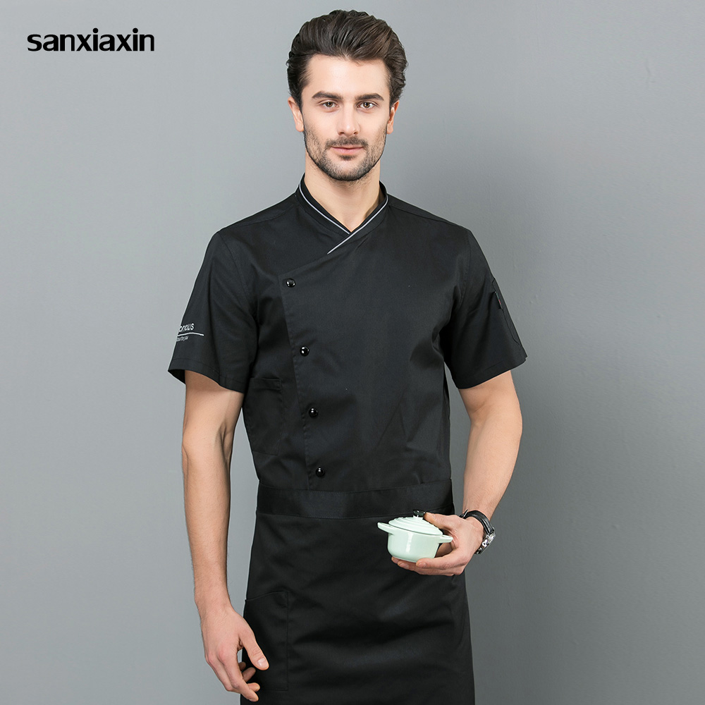 Unisex restaurant uniforms shirt Short sleeved catering Work shirt Restaurant Kitchen Chef Jacket Food Service chef work clothes