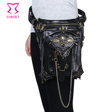 Corzzet Black PU Leather Skull&Rivet Steampunk Waist Bag Retor Women's Motorcycle Rock Cross Body Bag Gothic Accessories Corset