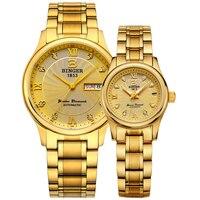 Натуральная Швейцария Binger бренд Для мужчин Для женщин любителей пара автоматические механические self ветер золотые часы мужской водонепрон