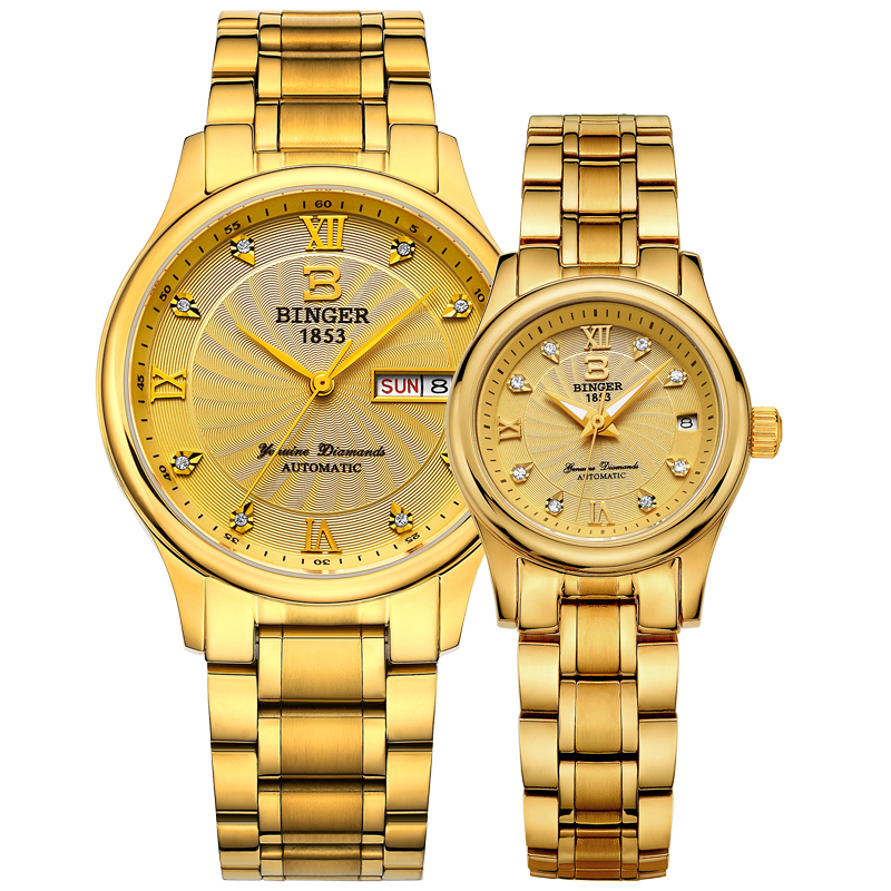 Genuine Switzerland BINGER Brand Men Women Lovers Couple Automatic Mechanical Self-wind Gold Watch Male Waterproof Full Steel