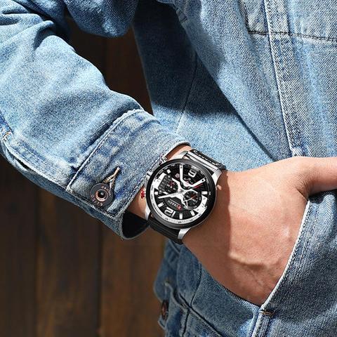 CURREN Casual Sport Watches for Men Blue Top Brand Luxury Military Leather Wrist Watch Man Clock Fashion Chronograph Wristwatch Karachi