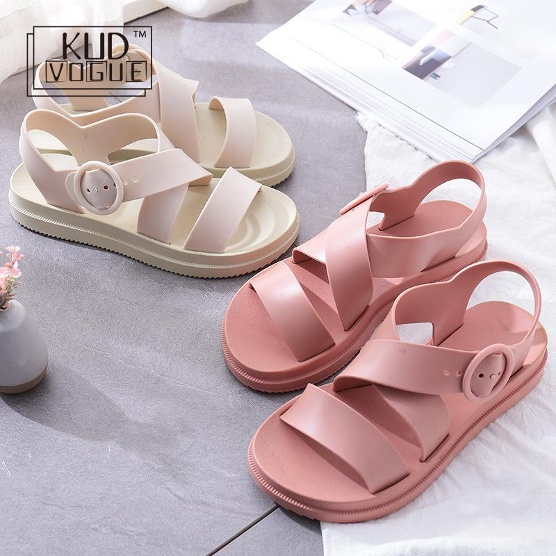 KUDVOGUE Women Flat Sandals Gladiator Open Toe Buckle Soft Jelly Sandals Female Casual Summer Flat Platform For Girl Beach ShoesKUDVOGUE Women Flat Sandals Gladiator Open Toe Buckle Soft Jelly Sandals Female Casual Summer Flat Platform For Girl Beach Shoes