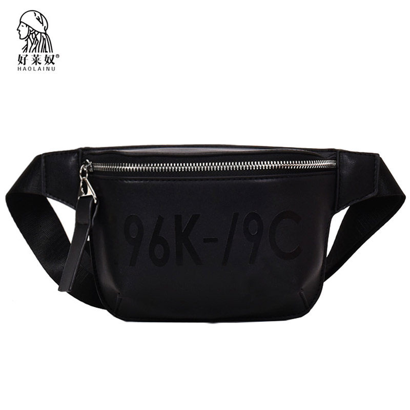 b34e7eb07 Haolainu Fashion New Women Waist Pack Casual Pu Leather Female Belt Bag  Zipper Chest Phone Pouch Bags Travel Fanny Pack Bolosa