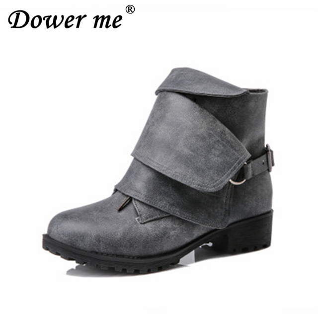 6437f12dcda US $26.07 35% OFF|Western Fashion Winter Woman Ladies Horse Riding Boot  Vintage Combat Punk Ankle boot Women Genuine Leather Short Boots Big 34  43-in ...