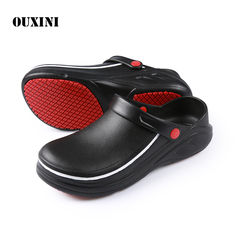 EVA High Quality Non-slip Waterproof Oil-proof Kitchen Work Shoes for Chef Master Cook Hotel Restaurant Slippers Flat Sandals image